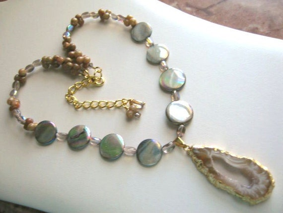 Safari Party ... natural druzy, geode slice, MOP .. #275