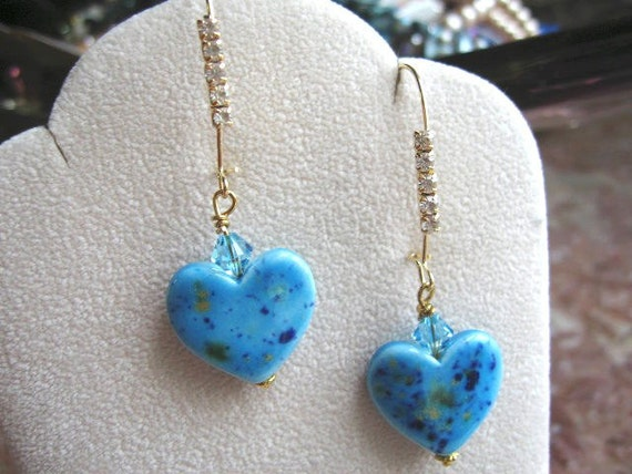 blue ceramic hearts, cystal accented earwires .. My Heart Is So Blue