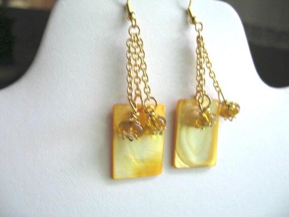 Lemon Dessert Squares ... dangling earrings, MOP, french hooks