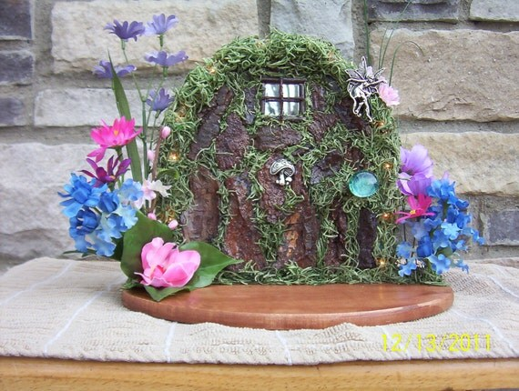 Fairy door with white battery operated lights
