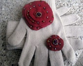 Gloves tan Embellished Red pendant felt ring winter Fasion full fingered gloves