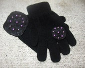 Gloves Black and Pink Embellished gloves pendant felt ring winter Fasion full fingered gloves