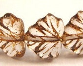 Czech Glass 10x13mm Maple Leaf Beads - 20 Count