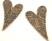 Engraved Heart Charms from Trinity Brass in Antique Gold - 2 Count