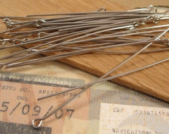 2 Inch Eye Pins  in Antique Silver - 50 Count