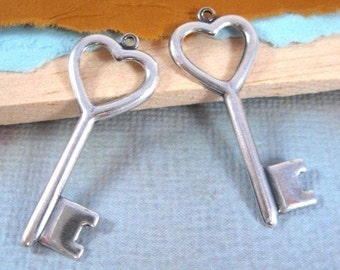 Heart Key Pendants from Trinity Brass in Antique Silver - 2 Count