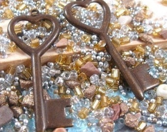 Heart Key Charms from Trinity Brass in Vintage Patina - 2 Count