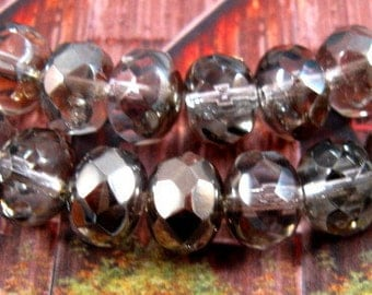 Czech Glass Rondelle Beads - Platinum - Fire Polished - Faceted - 6x9mm - 25ct