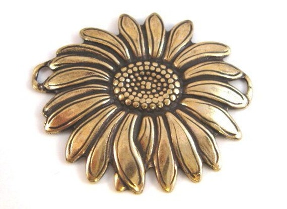 Sunflower Connector Pendant from Trinity in Antique Gold