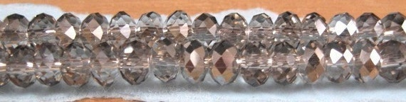 "Czech Glass Platinum Faceted Puffy 4x7mm Glass Rondelle Beads -  7"" Strand"