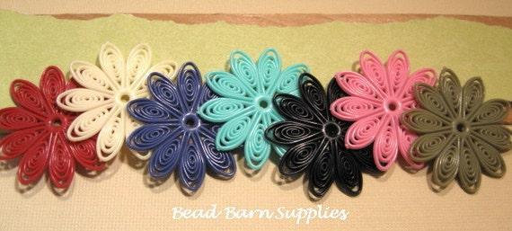 Flexible Plastic Multicolor Swirl Flower 45mm Beads - 14 Count Sample Pack