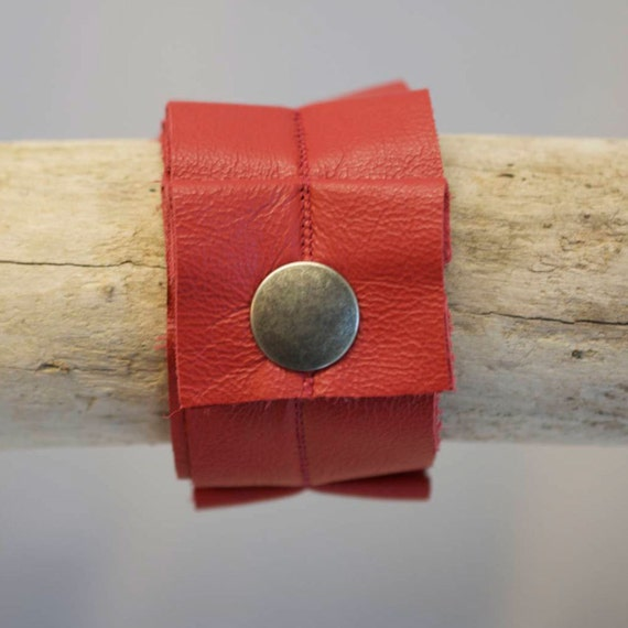 SALE recycled red leather ruffle cuff, bracelet, handmade, snap, bright red, upcycled, stacylynnc
