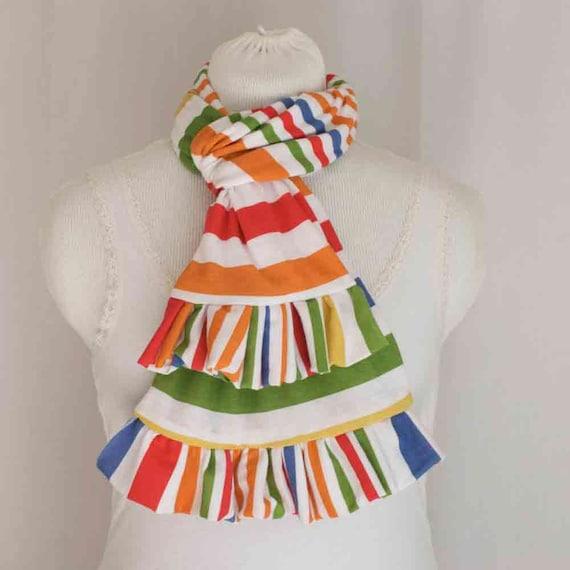 stripe ruffle jersey scarf