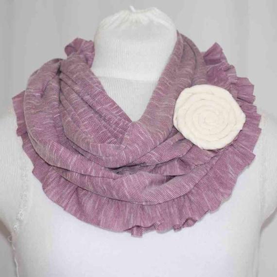 purple stripe jersey ruffle infinity scarf