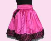 Gothic Lolita Two Layers Hot Pink And Black French Lace Two Front Pockets