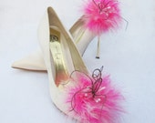 Hot Pink feathered  Shoe Clips With Curly Peacock feathers And White Stamens