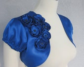 Royal Blue Satin Bolero Shrug With Flowers and Beads  Made to Order
