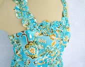 One Of A Kind Turquoise Floral Chiffon Party  Spring Summer Dress Easter