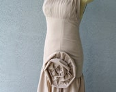 Was 169 Now 149 OOAK Party Dress Couture Nude Color One Shoulder Big Rosette Mermaid Style Formal Prom Red Carpet