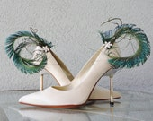 Peacock Feather Swords And Rhinestones Shoe Clips Set