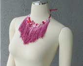 Be My Valentine One Of A Kind Hand Dyed Pink Fringe Ribbon Roses And Rhinestones Bib Necklace