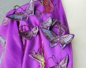 Plus Size Fairy Tale Purple Satin Bolero Shrug With Appliqued Butterflies More Colors Available