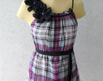Camisole Or Mini Dress Black And Plaid Purple Chiffon With Three Big Flowers On right Shoulder