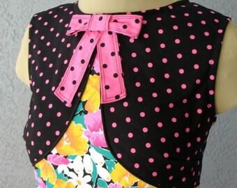 A-line Mini Dress Polka Dots And Floral Print