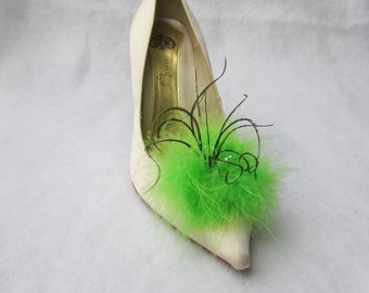 Kelly Green Feathered Shoe Clips  More Colors Available