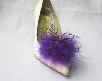 Dark Orchid Feathered Shoe Clips  More Colors Available