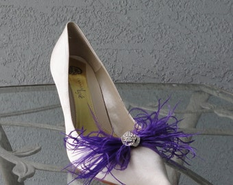 Purple Feather And Rhinestones Shoe Clips