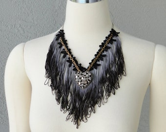 One Of A Kind Hand Dyed Black Fringe Lace And Heart Pendant Bib Necklace