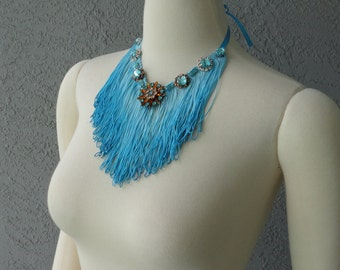 One Of A Kind Hand Dyed Blue Fringe And Rhinestones Bib Necklace