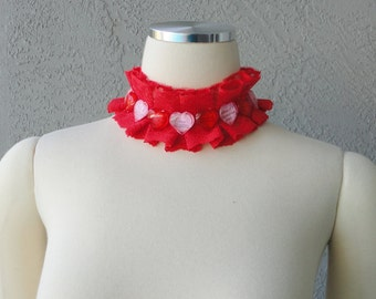 Valentine's Day Inspired One Of A Kind Red Lace Pink Ribbon And Acrylic Beads Collar Necklace