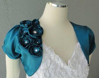 Wedding Bridal Teal Satin Bolero Shrug With Flowers and Rhinestones All Sizes Available