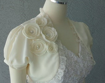 Wedding Bolero Shrug Ivory Satin With Faux Pearls And Lace Trim All Sizes Available