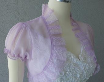Wedding Bolero Shrug Lilac Chiffon Lace Trim Cap Sleeves Size M Ready to ship
