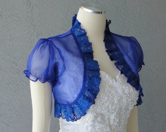 Wedding Bolero Shrug Indigo Chiffon Lace Trim Cap Sleeves All Sizes Available