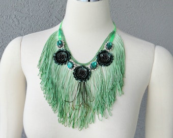 One Of A Kind Hand Dyed Green Fringe Peacock Feather And Rhinestones Bib Necklace