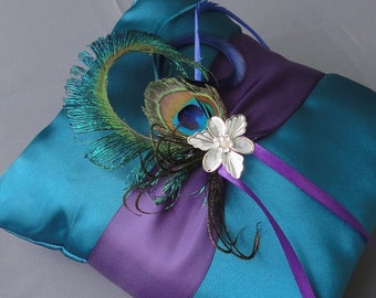 Wedding Teal And Purple Ring Bearer Pillow More Colors Available