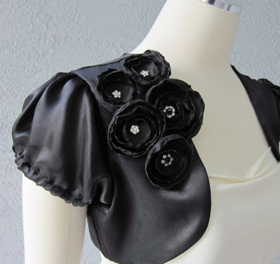 Black Satin Bolero Shrug With Flowers and Beads  Made to Order All Sizes Available