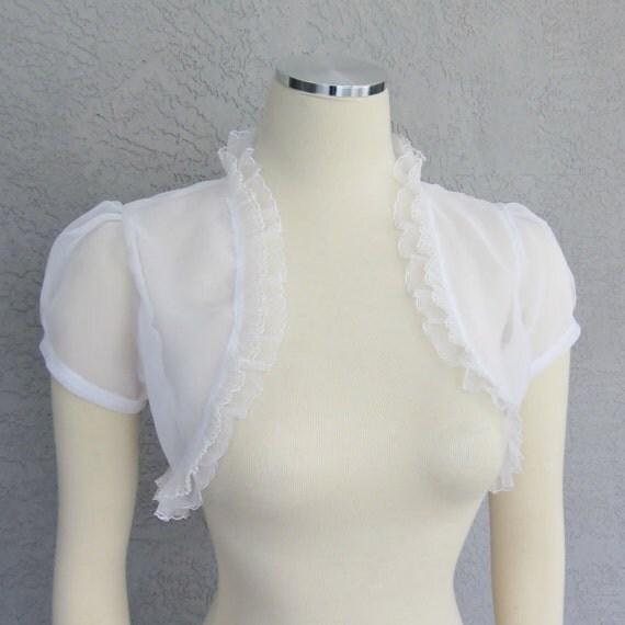 Reserved for Mel Wedding Bolero Shrug White Chiffon Lace Trim 3/4 Sleeves