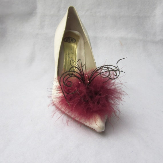 Burgundy Feathered Shoe Clips  More Colors Available