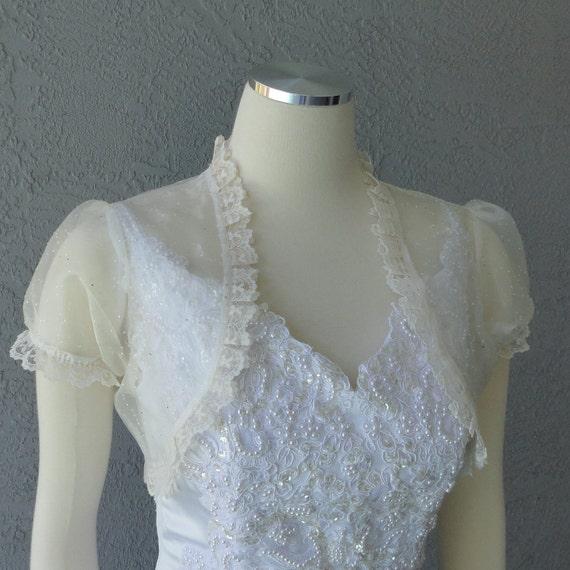 Wedding Bolero Shrug Ivory Glitter Organza Lace Trim Cap Sleeves