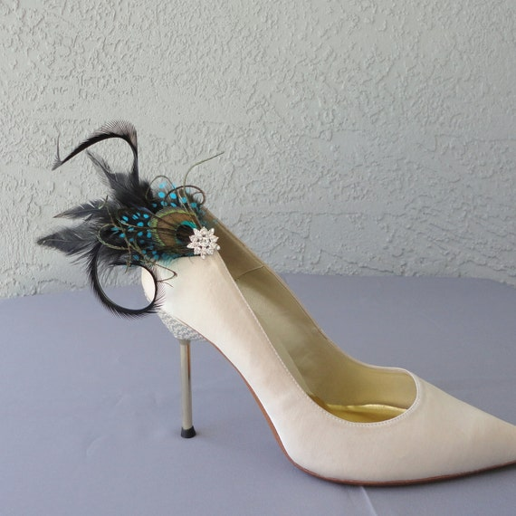 Wedding Bridal Party Peacock  Blue Dyed Guinea And Black Feather Shoe Clips Set Of Two