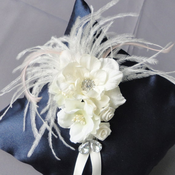Wedding Navy Blue And Ivory Flowers Ring Bearer Pillow