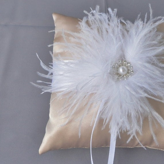 Wedding White And Champagne Ring Bearer Pillow More Colors Available