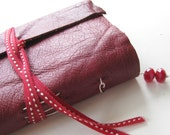 Strawberry Mini Journal - Red Leather, Long Stitch, Blank Book