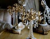 Italian Candlelabras with Original Vintage Crystals