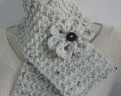 Oatmeal Crochet Scarf - Womens Neckwarmer with Flower - Ladies Tweed Scarflette - Winter Fashion Accessories